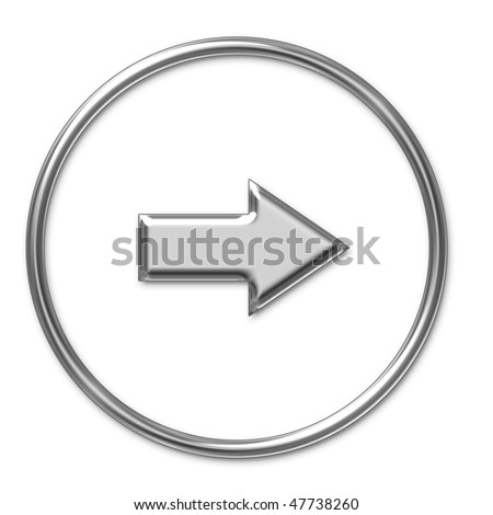 silver arrow icon - stock photo