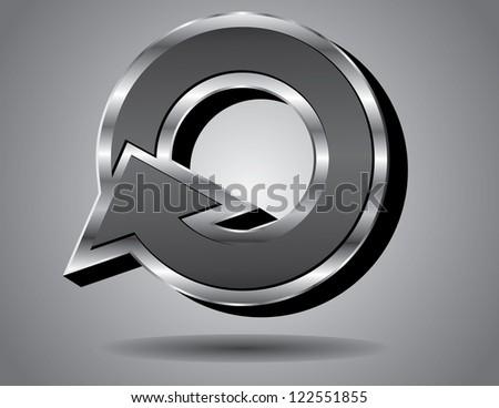 Silver Arrow Symbol Icon Capital Letter O - stock photo