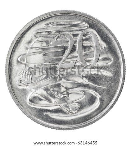 Silver Australian twenty cent coin - stock photo
