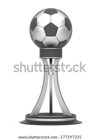 Silver award football trophy cup isolated on a white background - stock photo