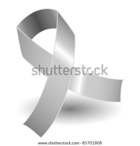 Silver awareness ribbon over a white background with drop shadow, simple and effective.