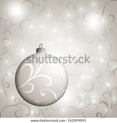 silver background with christmas ball