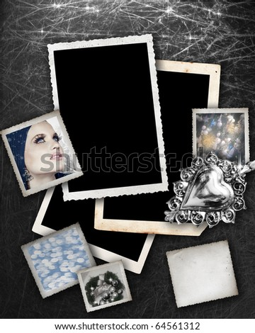 Silver background with grunge photo frames with Christmas theme pictures inside and space for text - stock photo
