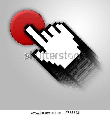 Silver background with red button and cursor. - stock photo