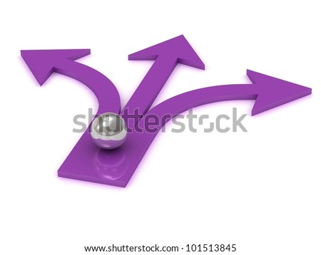 Silver ball at the intersection of three purple arrows on white background