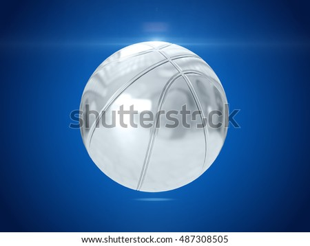 Silver ball. 3D rendering