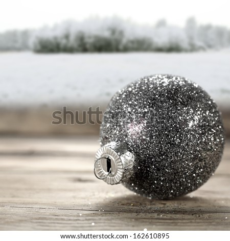 silver ball on wood  - stock photo