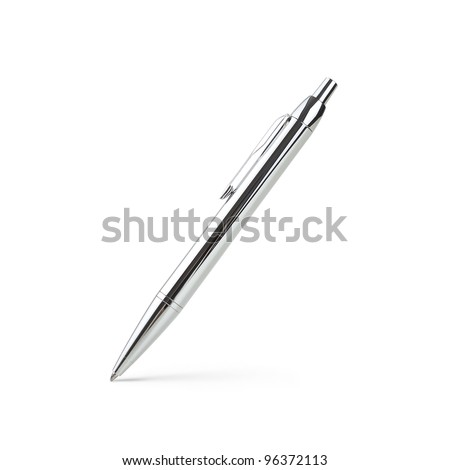Silver ballpoint pen isolated on white background - stock photo