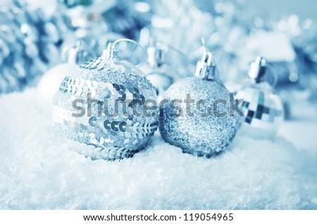 silver balls - stock photo
