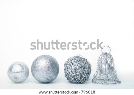 silver baubles isolated on white