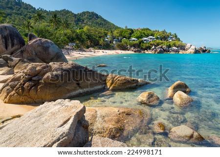 Silver beach, Crystal Beach beach view at Koh Samui Island Thailand  - stock photo