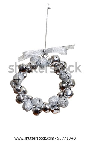 silver bell wreath ornament - stock photo