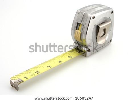 Silver belt clip tape measure white background - stock photo