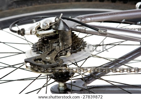 silver bicycle on white background