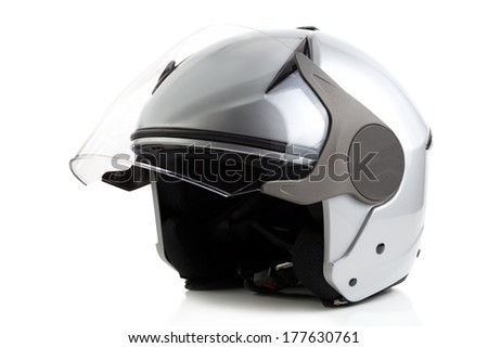 Silver bike helmet isolated - stock photo