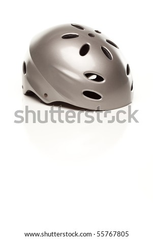 Silver Bike Helmet Isolated on a White Background.