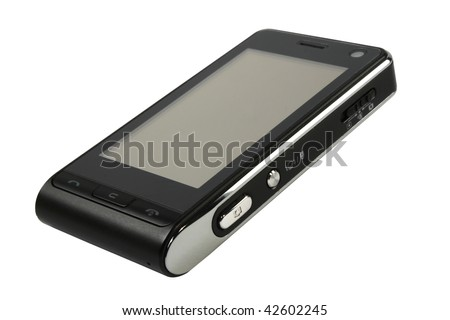 Silver black cell phone isolated with clipping path