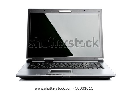 silver black isolated laptop computer - stock photo