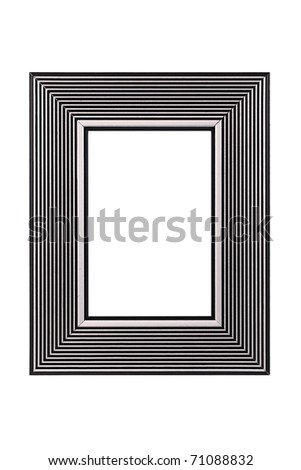 Silver-black picture frame isolated on white background - stock photo