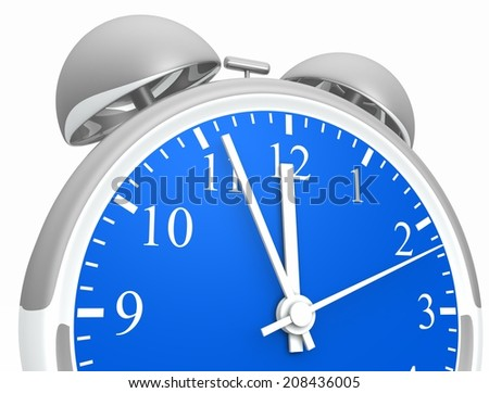 silver blue alarm clock 2 - stock photo