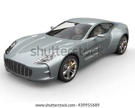 Silver blue sports car - closeup shot - isolated on white background - 3D Illustration