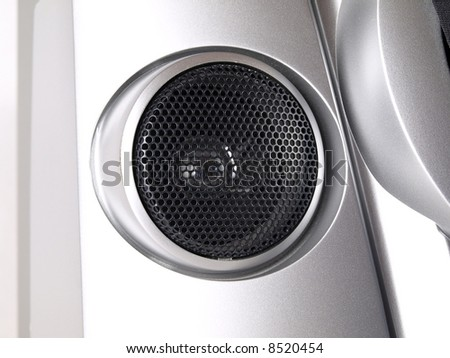 Silver Boom Box Stereo tweeter close up - stock photo