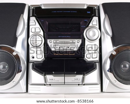 Silver Boom Box Stereo with CD Tape Tuner Aux - stock photo
