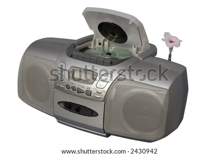 Silver Boombox; isolated, clipping path included - stock photo