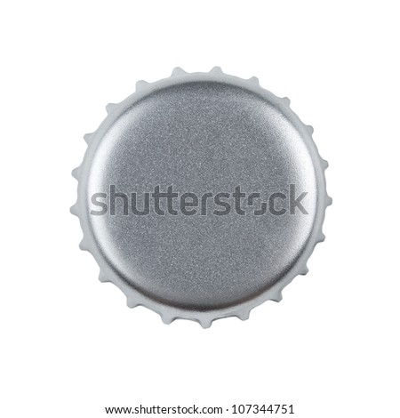 Silver bottle cap isolated on white background with clipping pat - stock photo