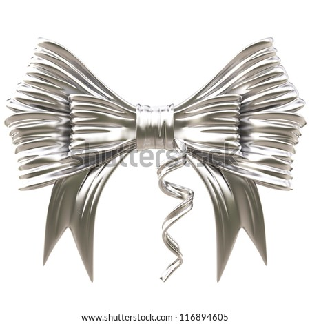 silver bow. isolated on white. - stock photo