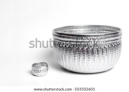 Silver bowl handicrafts of Thailand.Small bowl and big bowl.