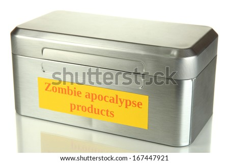Silver box with survival items isolated on white - stock photo