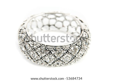 Silver bracelet isolated on white a background - stock photo