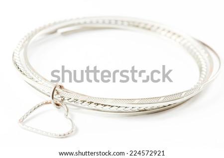 Silver bracelet isolated over white background. - stock photo