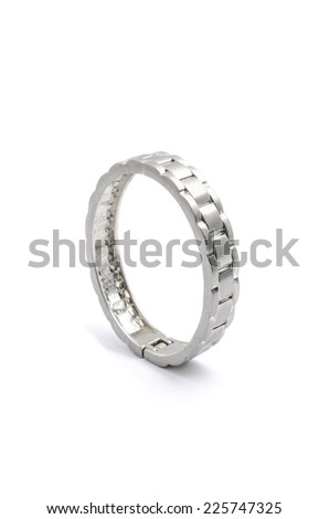 silver bracelet strap on a white background - stock photo