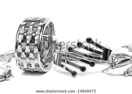silver bracelets with beads isolated on white background - stock photo