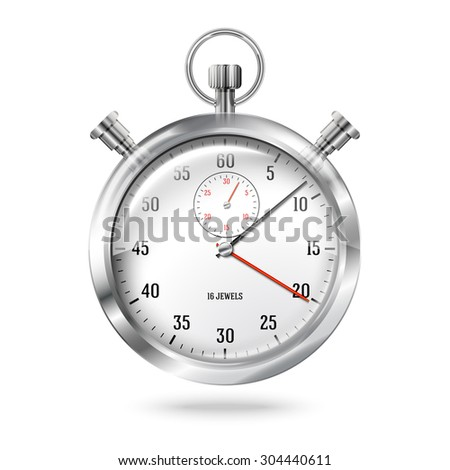 Silver bright stopwatch clock in the air with shadow, isolated on white background.