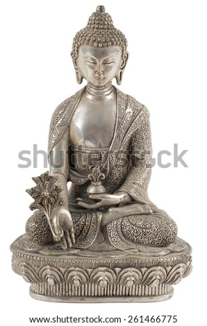 silver buddha statue isolated on white - stock photo