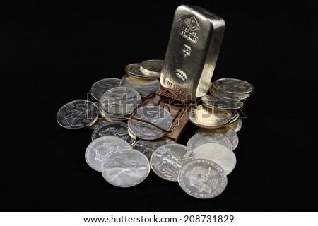 Silver Bullion - case - stock photo