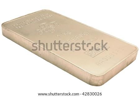 Silver bullion isolated on white background - stock photo