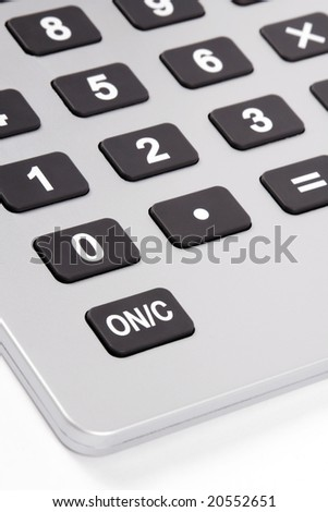 Silver Business Calculator With Grey Buttons And Display, White Background