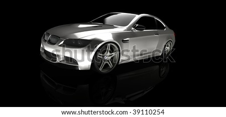 Silver business executive sports car / sportscar in studio isolated on black with reflection and copy space