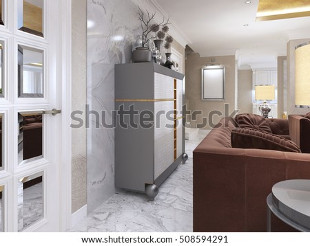 Silver Cabinet in the living room art Deco. Wardrobe with leather insets of white and Golden brown colors and niches for decor. 3D render.