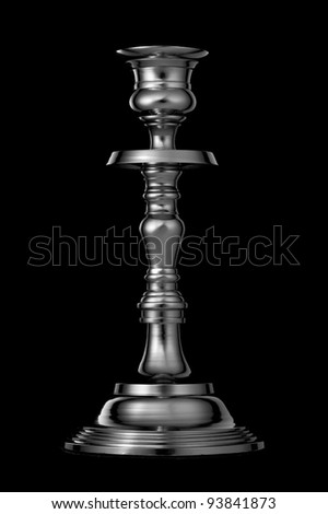 Silver candlestick isolated on black background - stock photo