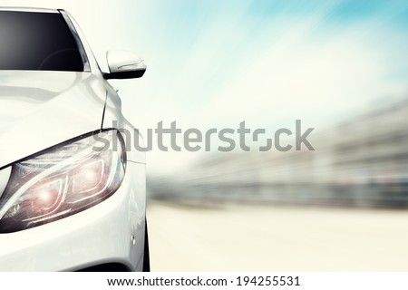 silver car and lamp  - stock photo