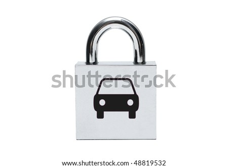 Silver car padlock isolated on white - stock photo