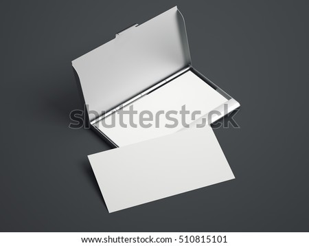 Silver case white blank business cards stock illustration 510815101 silver case with white blank business cards on a gray floor 3d rendering reheart Gallery