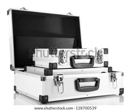 Silver cases isolated on white