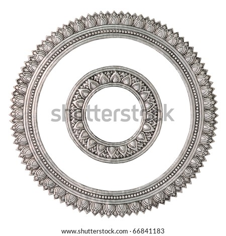 Silver. Centered round the beautiful proportions. Global Crafts Thai artists. Place in Chiang Mai, Thailand. - stock photo