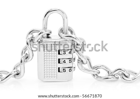 Silver chains fastened to numbered combination padlock, isolated on white background. - stock photo